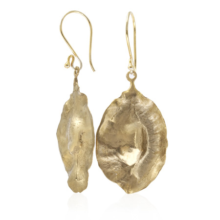 bronze cluster leaf seed pod earrings