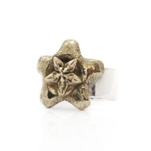 bronze wax flower on sterling silver band