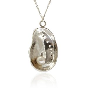 sterling silver 'mother of pearl' shell with fresh water pearl