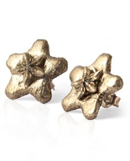 bronze 'wax flower' stud earrings