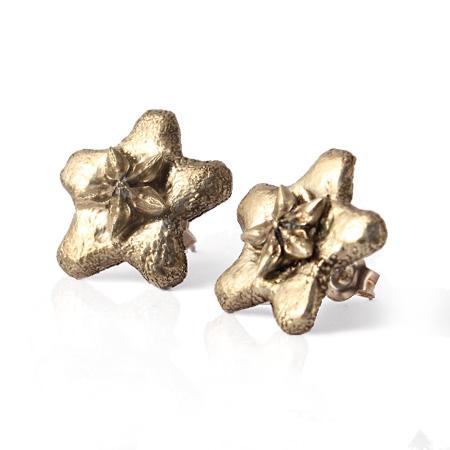 bronze 'wax flower' stud earrings