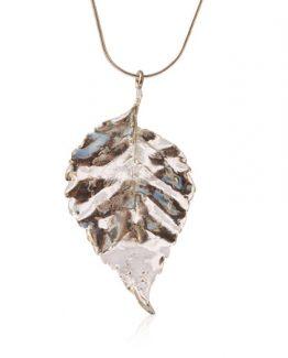 sterling silver bouganvillia leaf pendant